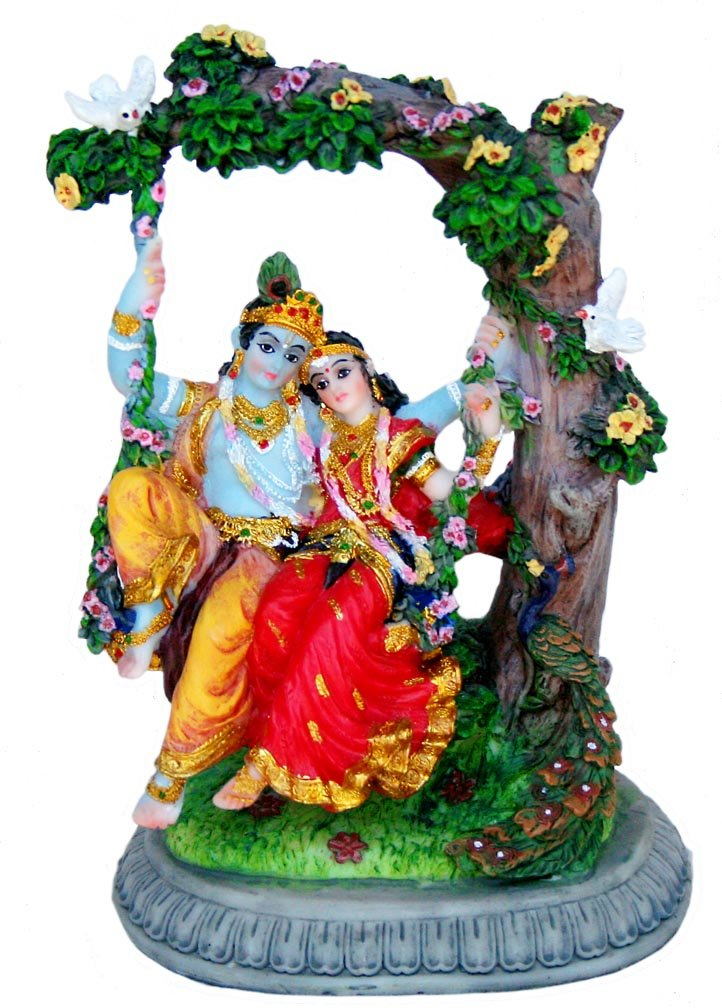 Sweet Radha Krishna on Swing Statue