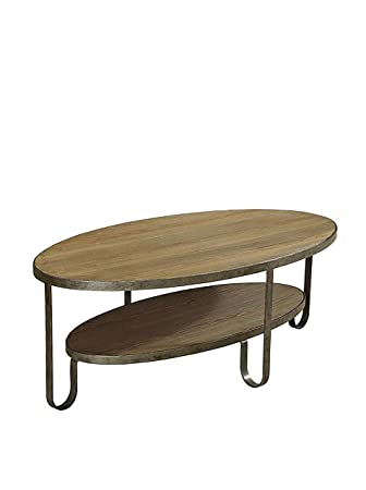 Armen Living Barstow Coffee Table with Gunmetal Frame, Natural