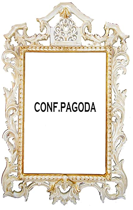 Picture Frame Mirror Mirror Ivory and Gold