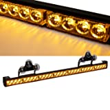 SmallfatW 32 Inch 28 LED Strobe Light Bar Car Truck Hazard Emergency Warning Windshield Flash Light Bar with Cigar Lighter and Suction Cups (Amber) (Color: amber, Tamaño: Suction Cups and Cigar Lighter)