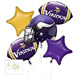 Andaz Press Balloon Bouquet Party Kit with Gold Cards & Gifts Sign, Vikings Football Themed Foil Mylar Balloon Decorations, 1-Set (Color: Sports Vikings)