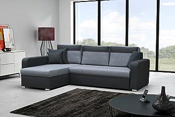 Sofa Loris mit Ottomane links in grau / schwarz mit Bettfunktion und Staukasten– Abmessungen: 235 x 179 cm (L x B)