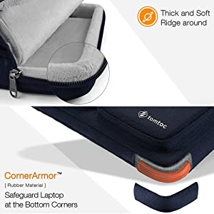 tomtoc 14 Inch Laptop Shoulder Bag with CornerArmor Protection, Compatible with 14 Lenovo ThinkPad Acer HP Chromebook | 15 MacBook Pro with Touch Bar A1990 A1707, with Accessory Pocket (Color: Dark Blue, Tamaño: 14-15 Inch for New MacBook Pro)