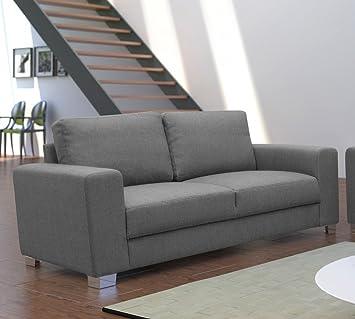 Dreams4Home, 2-Sitzer Sofa Dust BOXSPRING Polsterung Couch, Polstersofa, grau, Farbe:dunkelgrau;Fußausfuhrung:Metall
