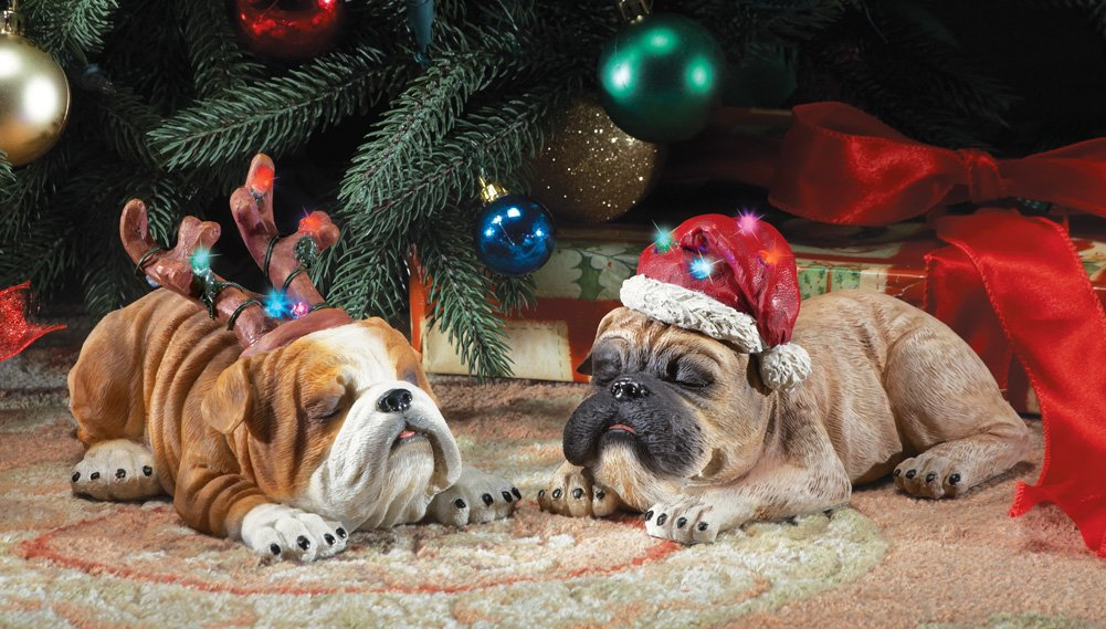 Snoozing Christmas Dog Sculptures- Set Of 2
