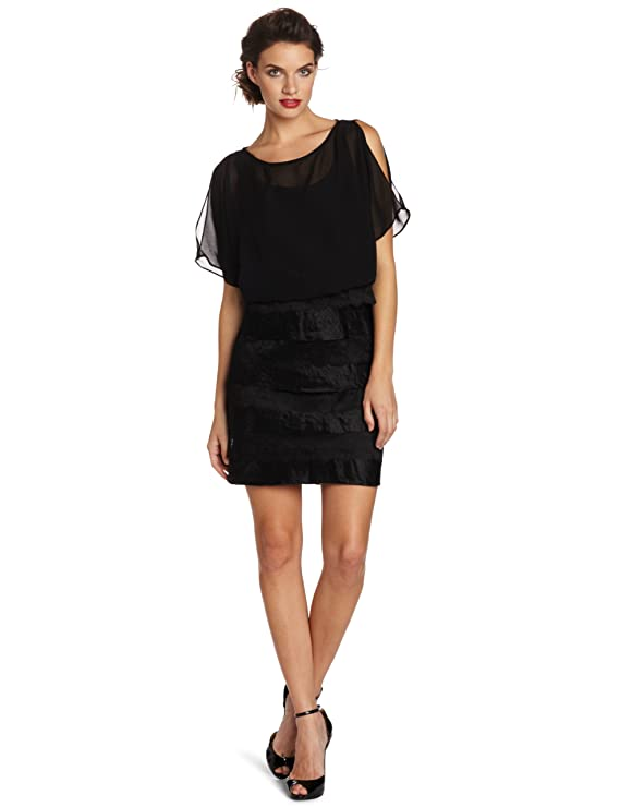 London Times Women's Chiffon Shimmer Lace Blouson Shutter Tuck Dress