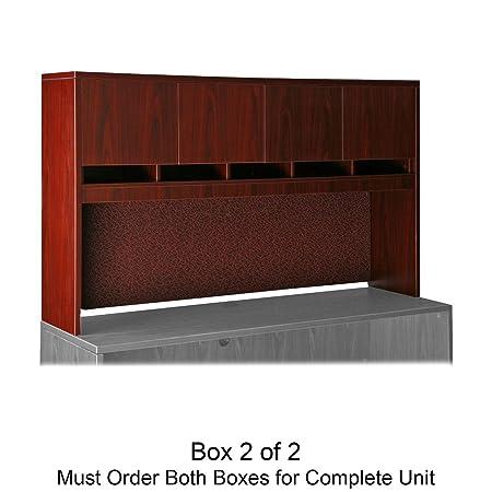 Lorell 87000 Series Lam. Stack-on Hutch w/Doors FInish: Mahogany