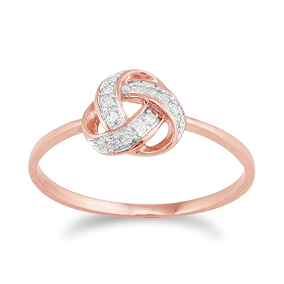 Gemondo Love Knot Diamond Ring in 9ct Rose Gold