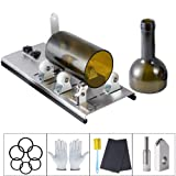 Kalawen Glass Bottle Cutter Bottle Cutter Latest Version DIY Machine for Cutting Wine Beer Whiskey Alcohol Champagne to Craft Glasses Accessories Tool Kit Gloves Fixing Rubber Ring (Color: sliver)
