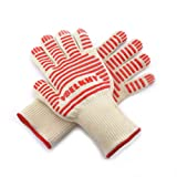 Premium Knitted Heat Resistant Gloves - Perfect Non-slip Kitchen Cooking Oven Mitts - Professional BBQ Grilling Potholder - 1 Pair (Cute White)