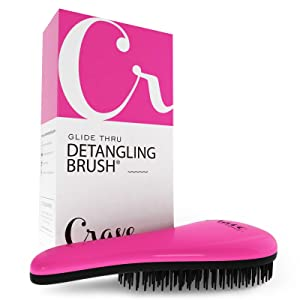 Crave Naturals Glide Thru Detangling Brush for Adults and Kids - use as comb or hair brush - (PINK) (Color: Pink)