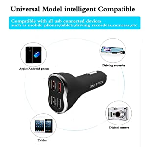 ONLYPICK USB 4 Ports Car Quick Charger with 5V 6.8A Output Compatible for iPhone X/8/8 Plus,Samsung Galaxy Note 8,S7 edge/S8/Plus,Nexus,Nokia and All