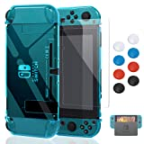 Case for Nintendo Switch,Fit The Dock Station, Protective Accessories Cover Case for Nintendo Switch and Joy-Con Controller - Dockable with a Tempered Glass Screen Protector,Crystal Clear Blue (Color: Blue)