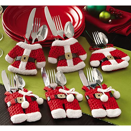 6 Pc. Santa Suit Christmas Silverware Holders