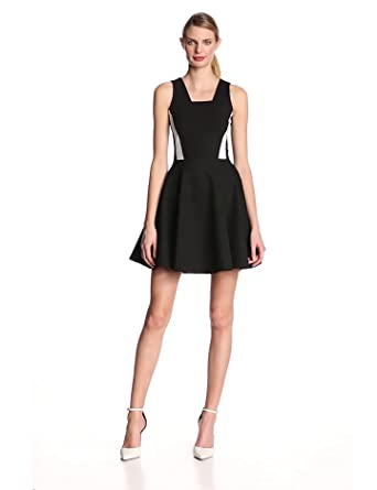 French Connection Women's Lucy Flare Tea Sleeveless Dress, Black/White, Size 14
