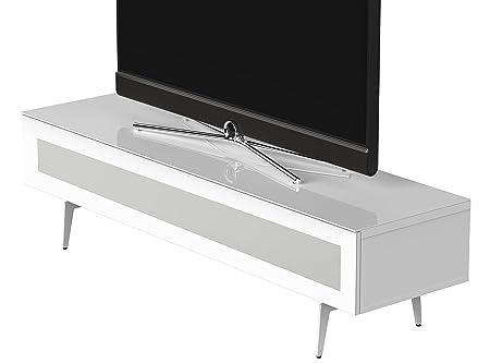Sonorous STA 360I-WHT-WHT-SL stehende TV-Lowboard auf weißem Fußgestell mit weißer Korpus, obere Fläche, gehärtetem Weißglas und Klapptur mit IR-durchlässigem Weißglas