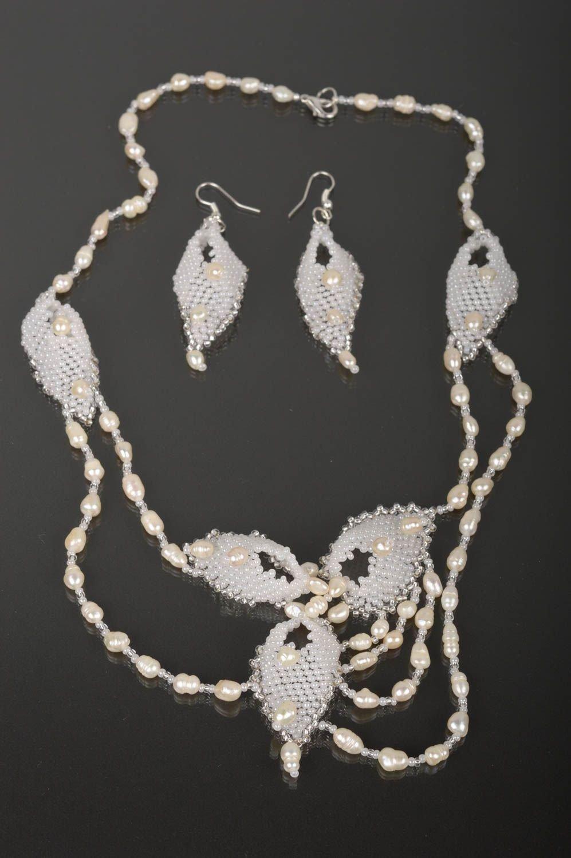 Handmade Schmuck Set aus Rocailles Damen Collier weiße lange Ohrringe für Braut günstig bestellen