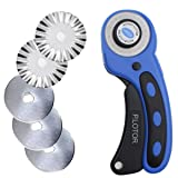 Rotary Cutter 45mm, P.LOTOR Comfort Handle Quilting Tools with 5 Replacement Pinking Rotary Blades (Color: Blue)