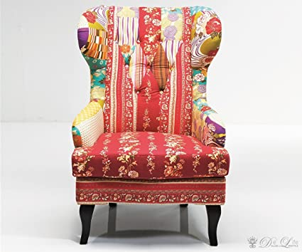 Oído Patchwork Red Multicolor Lounge Sillón by Kare