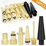 Hyacinth 16PCS Premium Brass Presta and Schrader Valve Adapter, Bike Tire Valve Adapters, Ball Pump Needle, Adapters Kit as Inflation Devices and Accessories fit for standard pump or Air Compressor (Color: Brass)