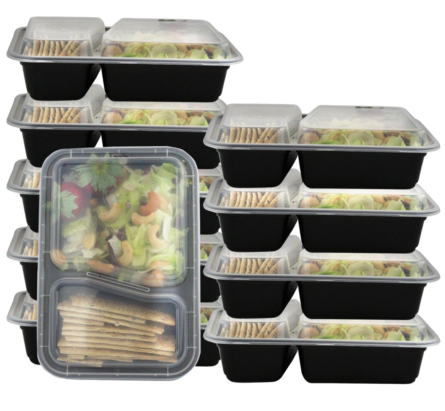 Pakkon 2 Compartment 10-Piece Plastic Bento Box with Airtight Lid