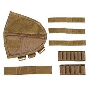 OneTigris Tactical Buttstock Shotgun Rifle Shell Holder Cheek Rest Pouch (Tan) (Color: Tan)