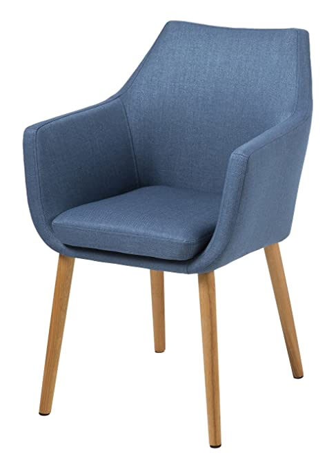 AC Design Furniture, 59329, Sedia con braccioli Trine, 58 x 58 x 84 cm, seduta in stoffa, Blu (Blau)