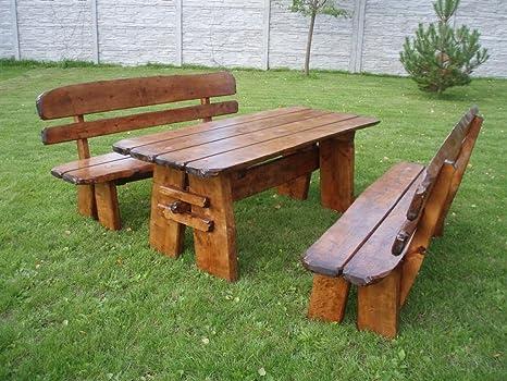 Timberline Sitzgruppe Natura 150 cm rustikal Outdoor Gartenmöbel, Farbe:dunkel geölt;Material:Birke