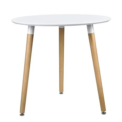 [en.casa] Esstisch Rund Weiß [H:75cmxØ80cm] Holz Tisch Retro Kuchentisch