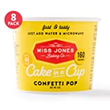 Miss Jones Baking Cake In A Cup, Microwave in Under a Minute, Quick Mix, Less Mess Than a Mug: Confetti Pop (Pack of 8)