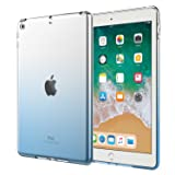 Atic Case for iPad 9.7 2018/2017 - Premium Soft Skin Flexible Bumper Transparent Graduate Color TPU Rubber Back Cover Protector for Apple iPad 9.7 Inch (iPad 5, iPad 6), Blue Gradient (Color: Blue Gradient)