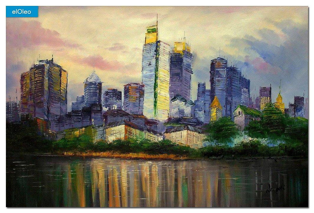 elOleo Skyline Frankfurt am Main 60×90 Gemälde auf Leinwand handgemalt 83367A jetzt kaufen