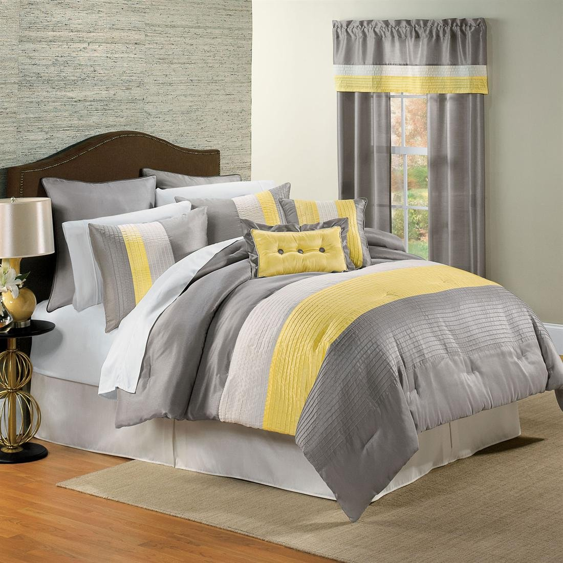 modern grey and yellow flowers comforter