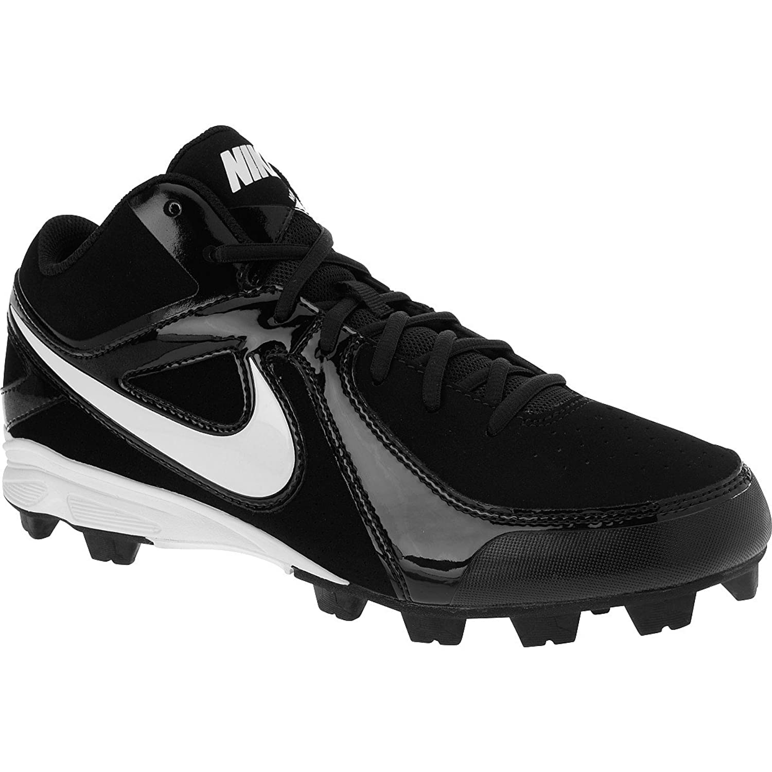 Men's Nike MVP Keystone 3/4 Molded Baseball Cleat Black/White Size 8