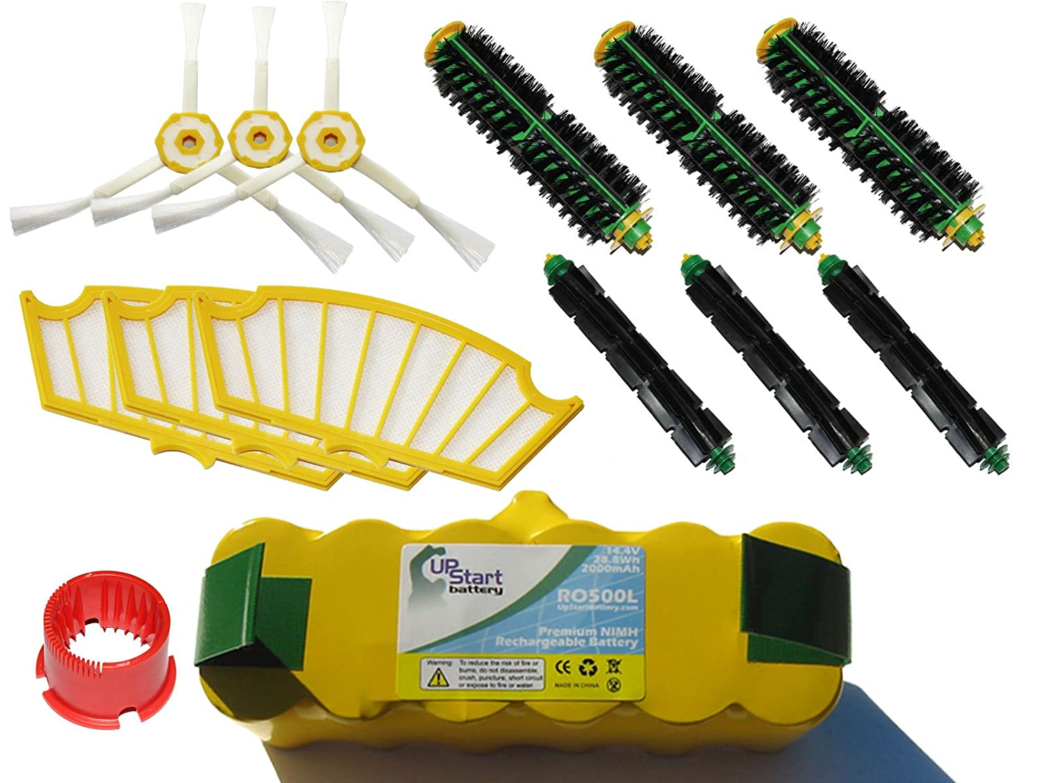 Replacement iRobot Roomba 551 Battery, Filter, Bristle Brush, Flexible Beater Brush, 3-Arm Side Brush and Brush Cleaning Tool - Kit Includes 1 Battery, 3 Filter, 3 Bristle Brush, 3 Flexible Beater Brush, 3 3-Arm Side Brush and 1 Brush Cleaning Tool 3 pack 3 armed side brush replace for irobot roomba vacuum 800 series 880 870 900 series 980 vacuum cleaning accessory kit