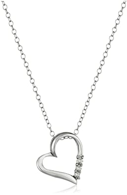 Sterling Silver 3-Stone Diamond Heart Pendant Necklace (1/10 cttw, I-J Color, I2-I3 Clarity), 18""