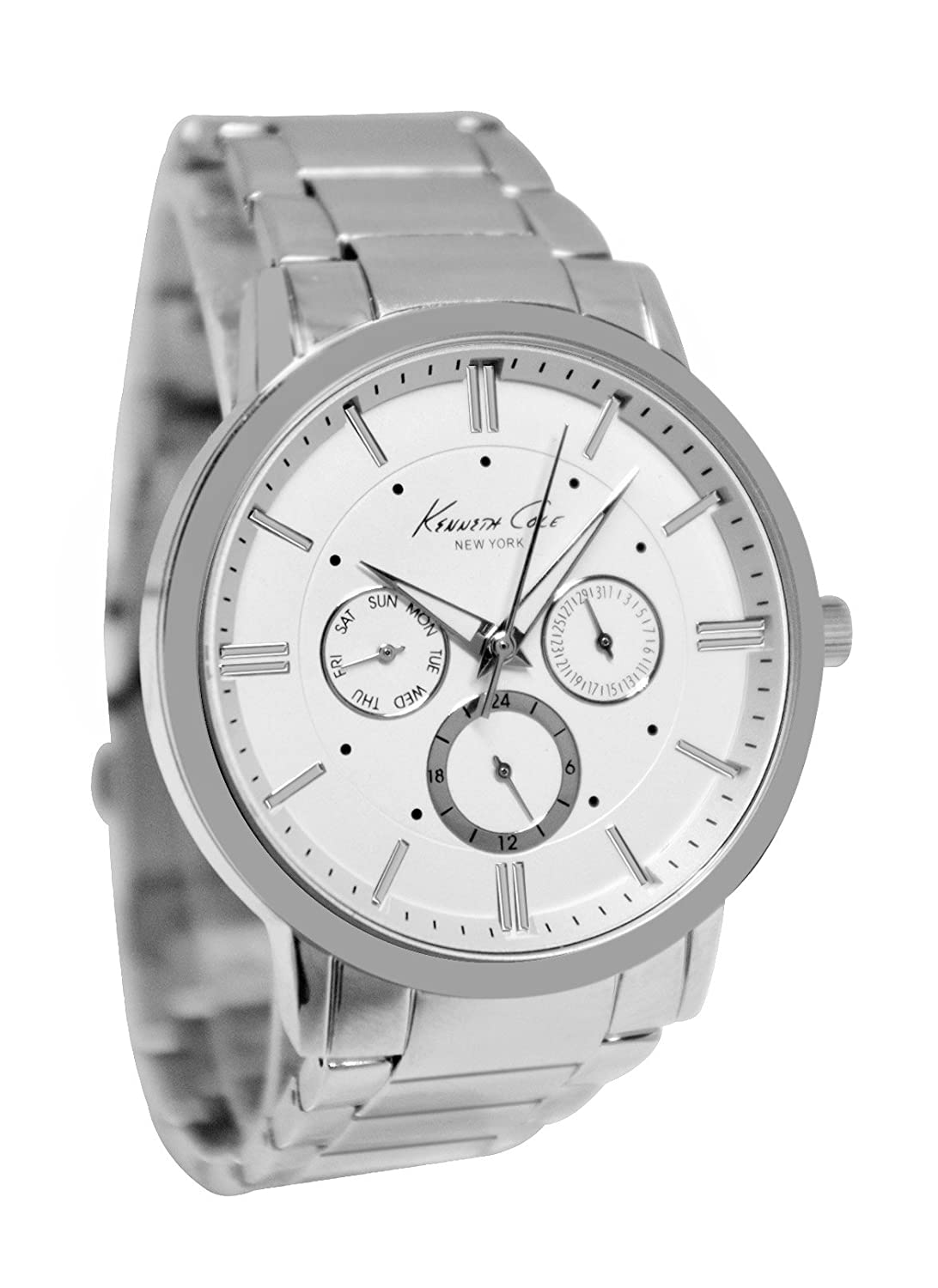 Kenneth Cole 10019441 White Silver Analog Day Date Dial Steel Band Men Watch NEW kenneth cole new white black women s size medium m tunic rib knit sweater $88