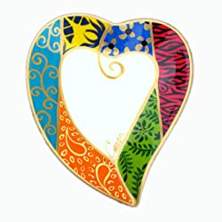 heart-shaped hand painted plate