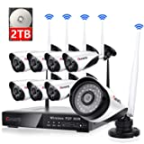 8 Channel Wireless Security Camera System NVR Video Surveillance System 720p Bullet Camera Night Vision Motion Detection 2TB Hard Drive for Indoor Outdoor (Color: 720P security camera system, Tamaño: 8CH,720p,2TB)