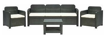 Set in rattan mobili da giardino POSITANO: 1 divano tre posti 2 poltrone 1 tavolino caffè