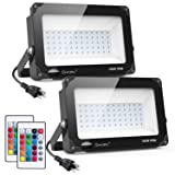 Onforu 2 Pack 100W RGB LED Flood Lights with Remote Control, IP66 Waterproof Dimmable Color Changing Floodlight, 16 Colors 4 Modes Wall Washer Light, Outdoor Decorative Landscape Garden Stage Lighting (Color: 100w Rgb*2pack)