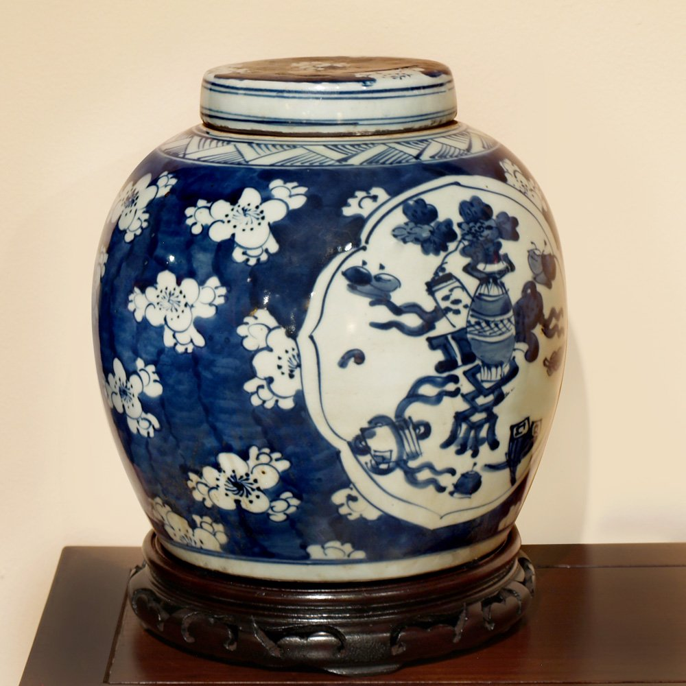 Hand Crafted Porcelain Ginger Jar - Blue and White Floral Motif