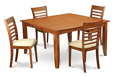 East West Furniture PFML5-SBR-C 5-Piece Dining Table Set, Brown Finish