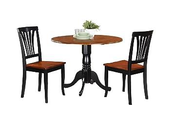 East West Furniture DLAV3-BCH-W 3-Piece Kitchen Nook Dining Table Set, Buttermilk/Cherry Finish