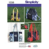 Simplicity 1338 Tote Bag, Backpack, and Coin Purse Sewing Pattern, One Size (Color: various, Tamaño: OS (ONE SIZE))