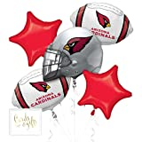 Andaz Press Balloon Bouquet Party Kit with Gold Cards & Gifts Sign, Cardinals Football Themed Foil Mylar Balloon Decorations, 1-Set (Color: Sports Cardinals)