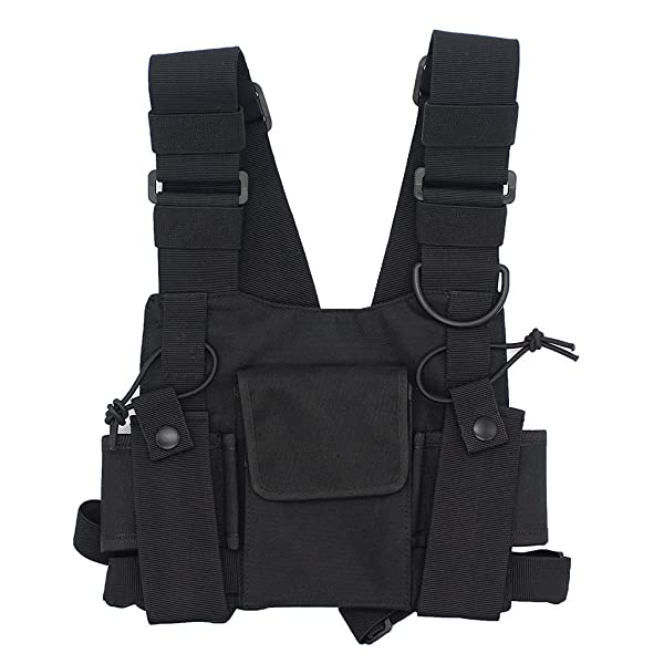 GoodQbuy Universal Radio Harness Chest Rig Bag Pocket Pack Holster Vest for Two Way Radio (Rescue Essentials) (Black) (Color: Black)