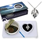 Pearlina Dragon Cultured Pearl in Oyster Necklace Set Silver Tone Cage w/Stainless Steel Chain 18