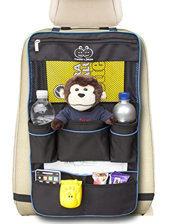 Backseat Organizer by Freddie and Sebbie - Luxury Car Storage Organizer - Perfect For Your Kids Accessories, Ipad, Tablets, Toys, Sippy Cups, Water Bottle, Etc - Designed To Fit Most Vehicles With The Aid Of Adjustable Straps Top And