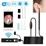 Wireless Otoscope, VTOSEN WiFi USB Ear Endoscope 1.3MP Digital Ear Scope Inspection Camera with 6 Adjustable LEDs, Earwax Clean Tool for Android & iPhone IOS, Tablet, Windows & Mac OS Computer (Color: Black)
